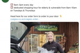 Craigie's new opening hours & deliveries