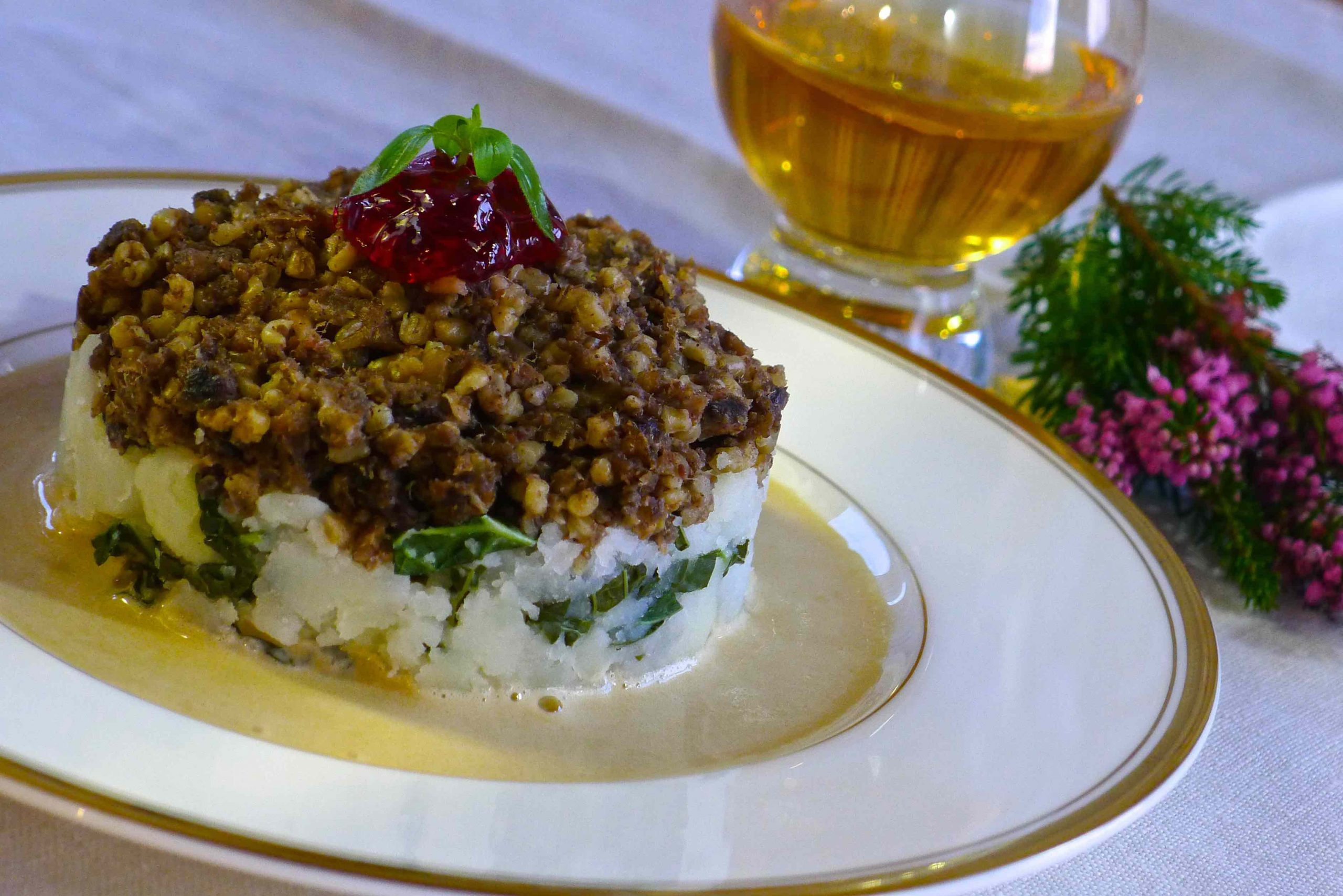 Haggis & Rumbledethumps with Whisky Sauce