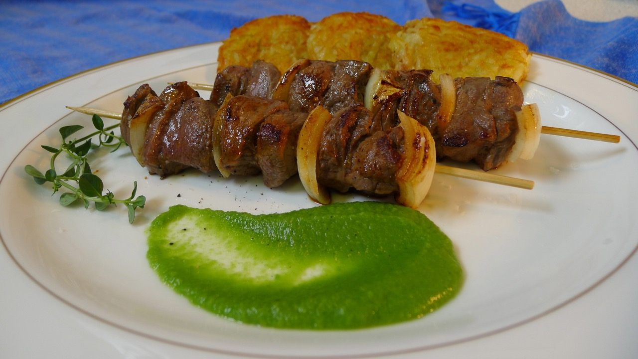Skewered Rothiemurchus Venison with Rosti and Marjoram Scented Pea Pureé
